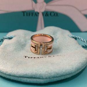 TIFFANY 18K White Ceramic T Cutout Ring Size 5